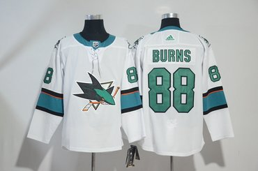Sharks 88 Brent Burns White Adidas Jersey