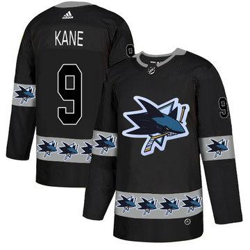 Sharks 9 Evander Kane Black Team Logos Fashion Adidas Jersey