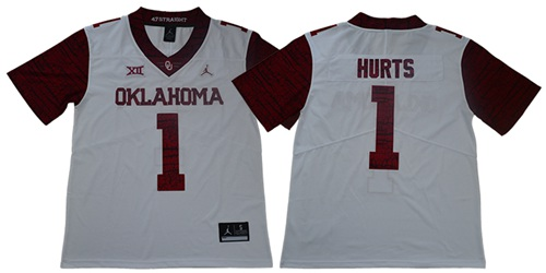 Sooners #1 Jalen Hurts White Jordan Brand Limited New XII Stitched College Jersey