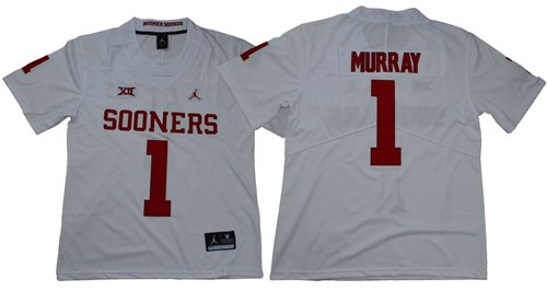 Sooners #1 Kyler Murray White Jordan Brand Limited Stitched NCAA Jersey