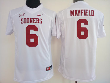 Sooners #6 Baker Mayfield White Women's Stitched NCAA Jersey