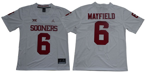Sooners #6 Baker Mayfield White XII Limited Stitched NCAA Jersey