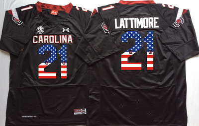 South Carolina Gamecocks 21 Marcus Lattimore Black USA Flag College Jersey