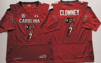South Carolina Gamecocks 7 Jadeveon Clowney Red Portrait Number College Jersey