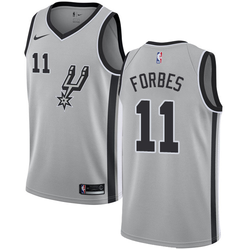 Spurs #11 Bryn Forbes Silver Basketball Swingman Statement Edition Jersey