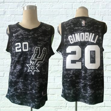 Spurs 20 Manu Ginobili Black City Edition Nike Swingman Jersey