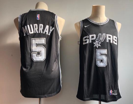 Spurs 5 Dejounte Murray Black Nike Swingman Jersey