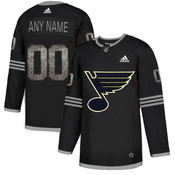 St. Louis Blues Black Shadow Logo Print Men's Customized Adidas Jersey