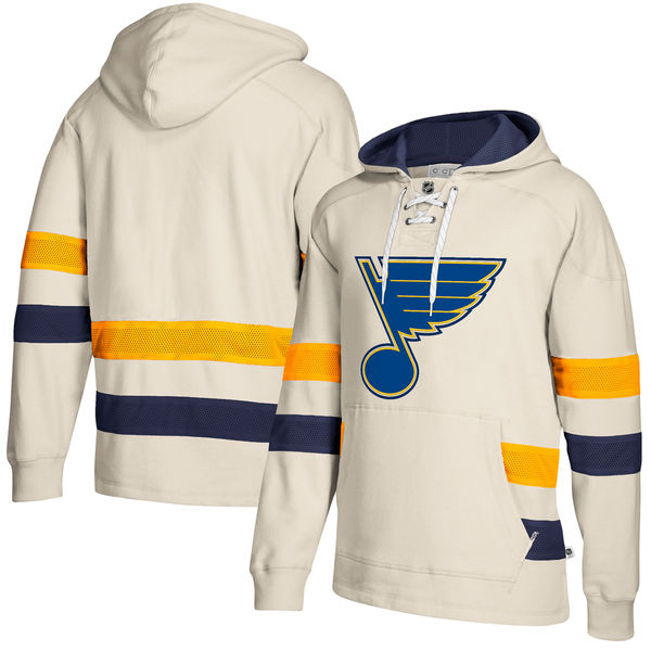 St. Louis Blues Cream Men's Customized All Stitched Hooded Sweatshirt