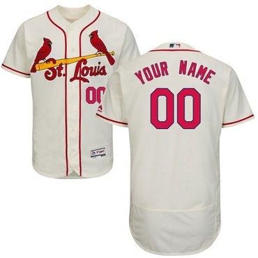 St. Louis Cardinals Cream Men's Customized Flexbase Jersey