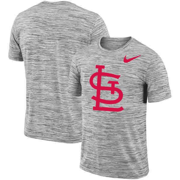 St. Louis Cardinals Nike Heathered Black Sideline Legend Velocity Travel Performance T-Shirt