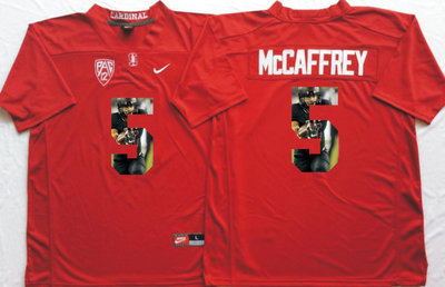 Stanford Cardinal 5 Christian McCaffrey Red Portrait Number College Jersey