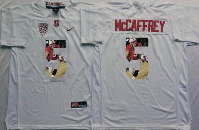 Stanford Cardinal 5 Christian McCaffrey White Portrait Number College Jersey