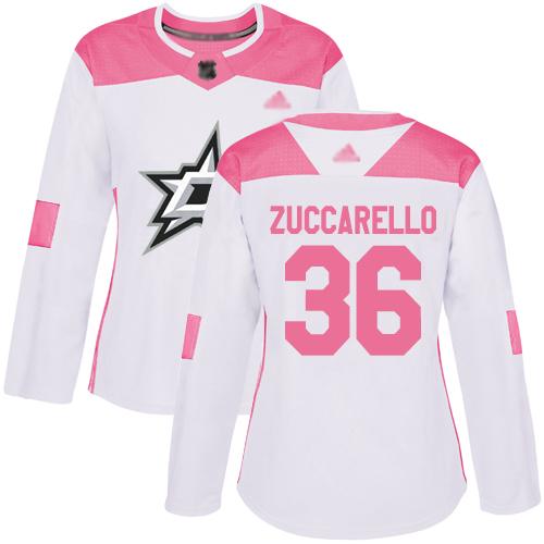 Stars #36 Mats Zuccarello White Pink Authentic Fashion Women's Stitched Hockey Jersey