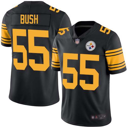 Steelers #55 Devin Bush Black Men's Stitched Football Limited Rush Jersey