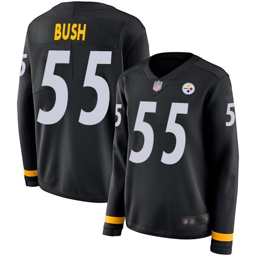 Steelers #55 Devin Bush Black Team Color Women's Stitched Football Limited Therma Long Sleeve Jersey