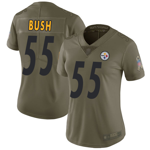 Steelers #55 Devin Bush Olive Women's Stitched Football Limited 2017 Salute to Service Jersey
