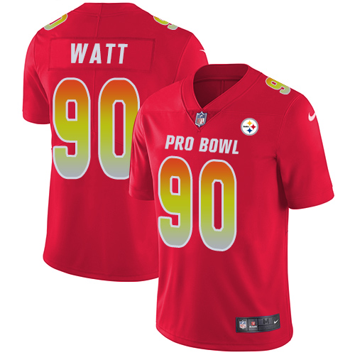 Steelers #90 T. J. Watt Red Youth Stitched Football Limited AFC 2019 Pro Bowl Jersey