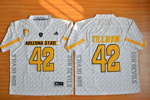 Sun Devils #42 Pat Tillman New White Stitched NCAA Jersey