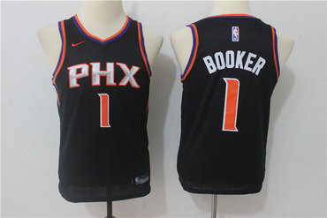 Suns 1 Devin Booker Black Youth Nike Swingman Jersey