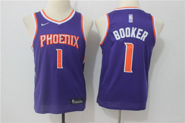 Suns 1 Devin Booker Purple Youth Nike Swingman Jersey