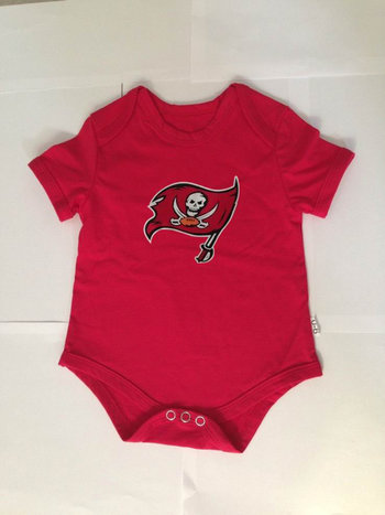 Tampa Bay Buccaneers Newborn Girls Ruffle Heart Creeper Set - Red