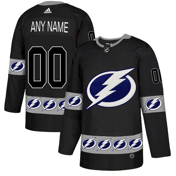 Tampa Bay Lightning Black Men's Customized Team Logos Fashion Adidas Jersey