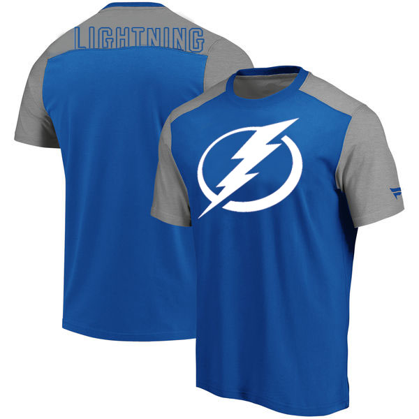 Tampa Bay Lightning Fanatics Branded Iconic Blocked T-Shirt Blue Heathered Gray