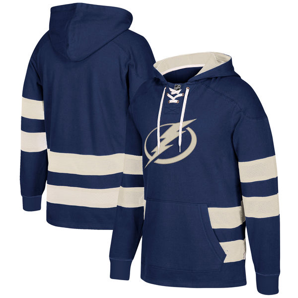 Tampa Bay Lightning Navy Men's Customized All Stitched Hooded Sweatshirt