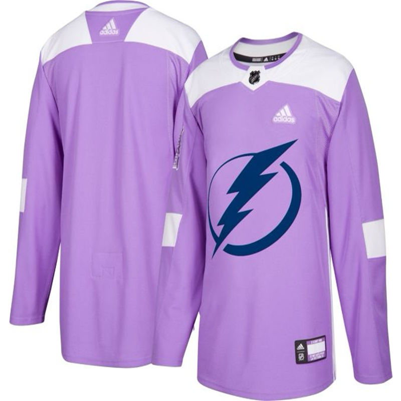 Tampa Bay Lightning Purple Adidas Hockey Fights Cancer Custom Practice Jersey