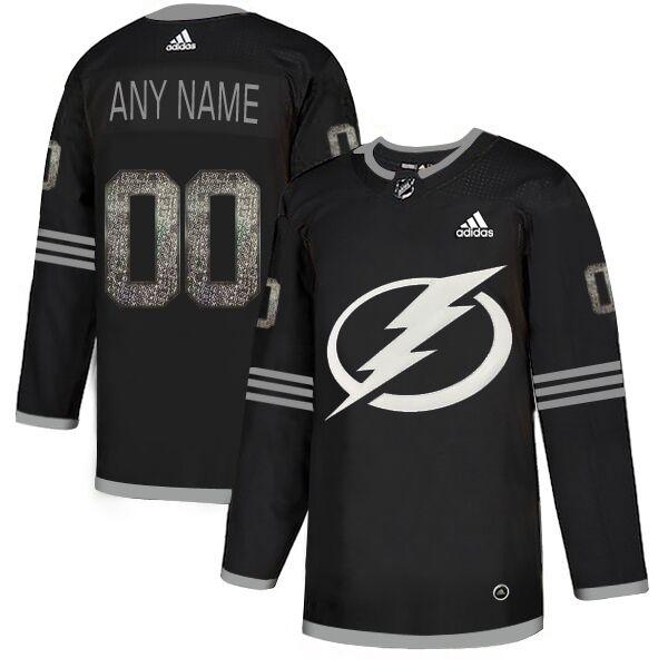 Tampa BayLightning Black Shadow Logo Print Men's Customized Adidas Jersey