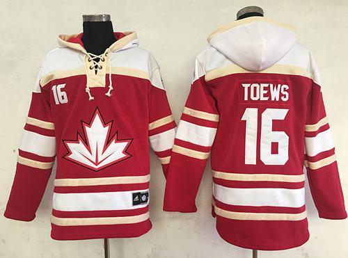 Team CA. #16 Jonathan Toews Red Sawyer Hooded Sweatshirt 2016 World Cup Stitched NHL Jersey