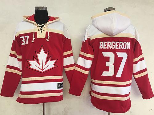 Team CA. #37 Patrice Bergeron Red Sawyer Hooded Sweatshirt 2016 World Cup Stitched NHL Jersey