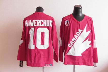 Team CANADA 1991 Winter Olympic 10 Hawerchuk Red CCM Jersey
