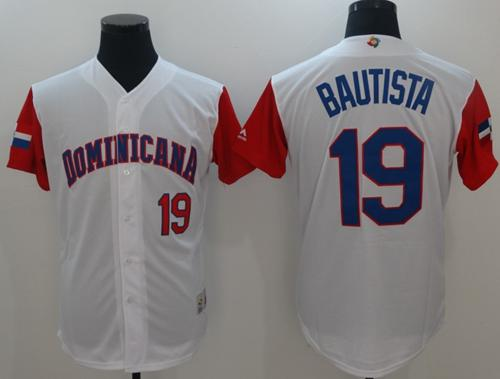 Team Dominican Republic #19 Jose Bautista White 2017 World Baseball Classic Authentic Stitched MLB Jersey