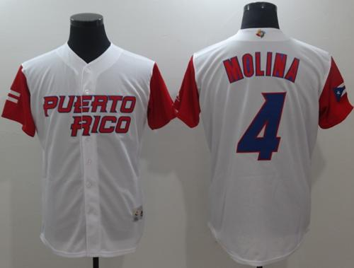 Team Puerto Rico #4 Yadier Molina White 2017 World Baseball Classic Authentic Stitched MLB Jersey