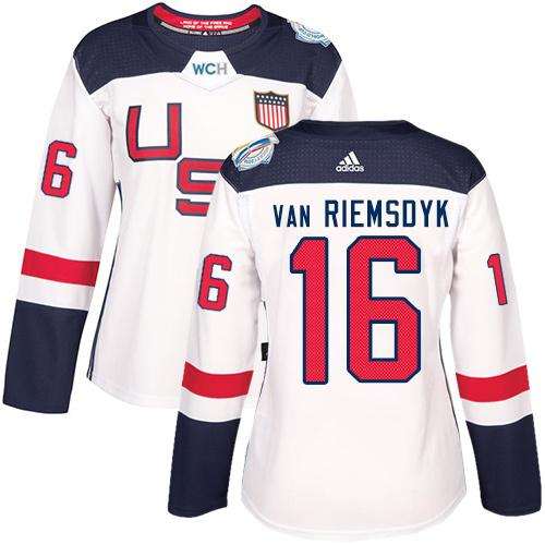 Team USA #16 James van Riemsdyk White 2016 World Cup Women's Stitched NHL Jersey