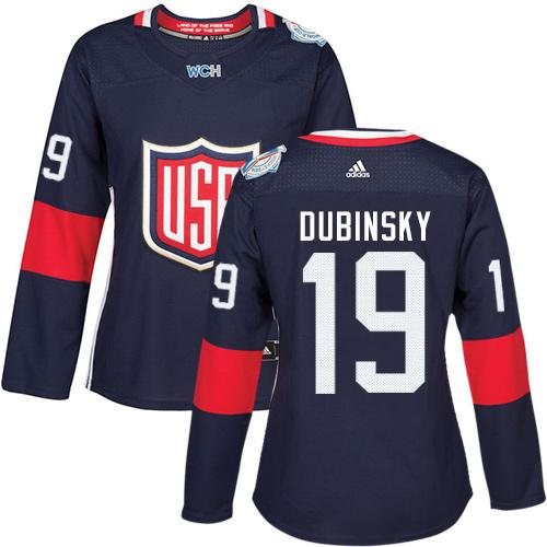 Team USA #19 Brandon Dubinsky Navy Blue 2016 World Cup Women's Stitched NHL Jersey