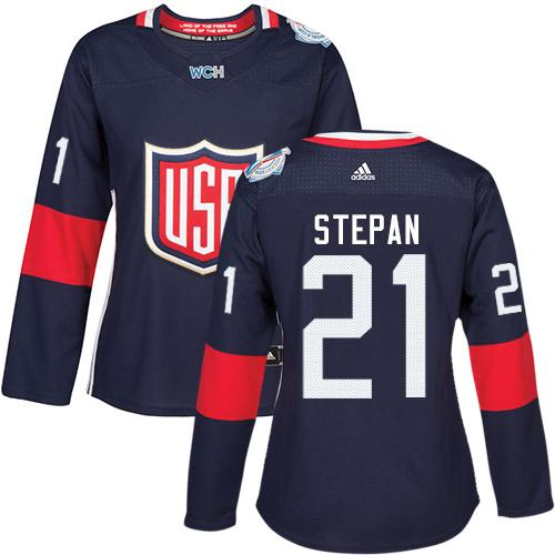 Team USA #21 Derek Stepan Navy Blue 2016 World Cup Women's Stitched NHL Jersey