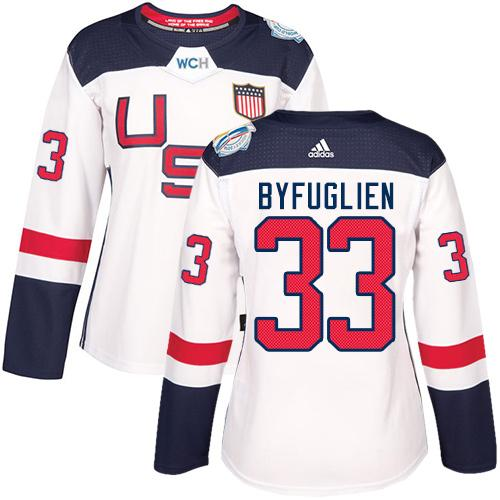 Team USA #33 Dustin Byfuglien White 2016 World Cup Women's Stitched NHL Jersey