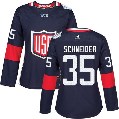 Team USA #35 Cory Schneider Navy Blue 2016 World Cup Women's Stitched NHL Jersey