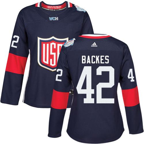 Team USA #42 David Backes Navy Blue 2016 World Cup Women's Stitched NHL Jersey