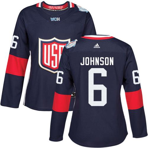 Team USA #6 Erik Johnson Navy Blue 2016 World Cup Women's Stitched NHL Jersey