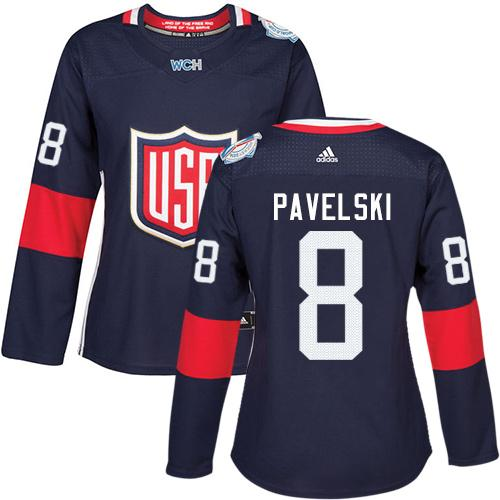 Team USA #8 Joe Pavelski Navy Blue 2016 World Cup Women's Stitched NHL Jersey