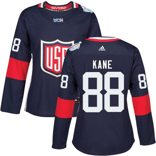 Team USA #88 Patrick Kane Navy Blue 2016 World Cup Women's Stitched NHL Jersey