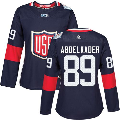 Team USA #89 Justin Abdelkader Navy Blue 2016 World Cup Women's Stitched NHL Jersey