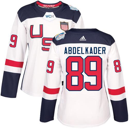 Team USA #89 Justin Abdelkader White 2016 World Cup Women's Stitched NHL Jersey
