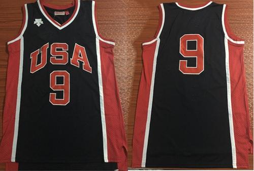 Team USA #9 Michael Jordan Navy Blue 1984 Summer Olympics Stitched Basketball Jersey