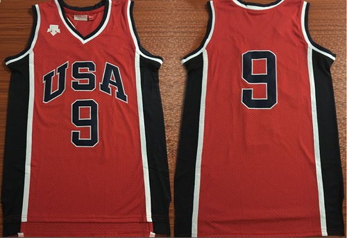 Team USA #9 Michael Jordan Red 1984 Summer Olympics Stitched Basketball Jersey