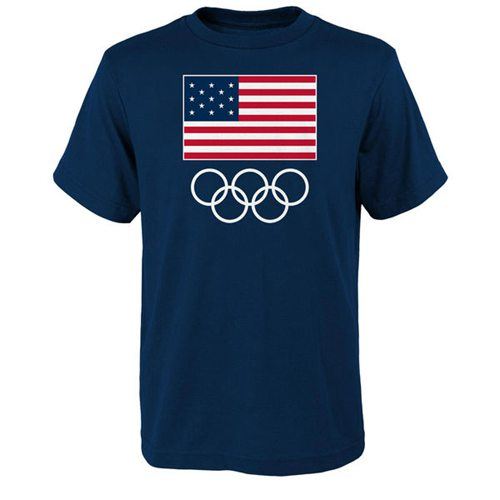 Team USA 2016 Olympics Flags & Rings T-Shirt Navy